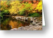 Fall River Scenes Painting Greeting Cards - Li12.24 Greeting Card by Shasta Eone