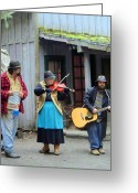 Wash Board Greeting Cards - Liarsville Alaska Musicans Greeting Card by Mindy Newman