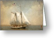 Merrimac Greeting Cards - Liberty Clipper on Boston Harbor Greeting Card by Karen Lynch