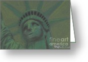 Icon  Pastels Greeting Cards - Liberty in Green Greeting Card by Stephen Cheek II