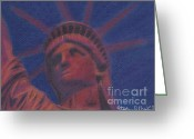 Icon  Pastels Greeting Cards - Liberty in Red Greeting Card by Stephen Cheek II