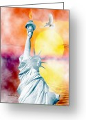 Smudgeart Greeting Cards - Liberty In The Mist Greeting Card by Madeline M Allen
