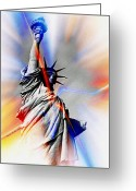 Smudgeart Greeting Cards - Liberty Greeting Card by Madeline M Allen