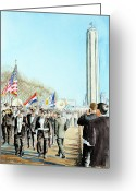 Patriotism Painting Greeting Cards - Liberty Memorial KC Veterans Day 2001 Greeting Card by Carolyn Coffey Wallace
