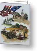 Freedom Painting Greeting Cards - Liberty Rising Greeting Card by Joan Garcia