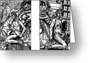 Pen And Ink Drawing Drawings Greeting Cards - Library Angels Greeting Card by Elizabeth Hoskinson