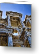 Roman Photo Greeting Cards - Library of Celsus Greeting Card by David Smith