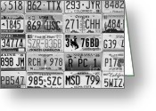 California And Hawaii Greeting Cards - Licence Plates Mosaic Greeting Card by Sophie Vigneault