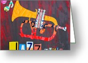 Design Turnpike Greeting Cards - License Plate Art Jazz Series Number One Trumpet Greeting Card by Design Turnpike