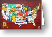 Transportation Mixed Media Greeting Cards - License Plate Map of The United States - Midsize Greeting Card by Design Turnpike
