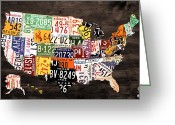 Transportation Mixed Media Greeting Cards - License Plate Map of The United States - Warm Colors / Black Edition Greeting Card by Design Turnpike