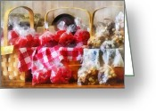 Wicker Baskets Greeting Cards - Licorice and Chocolate Covered Peanuts Greeting Card by Susan Savad