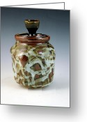 Thrown Ceramics Greeting Cards - Lidded Figure Number 18 Greeting Card by Alejandro Sanchez