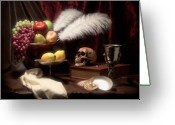 Peaches Greeting Cards - Life and Death in Still Life Greeting Card by Tom Mc Nemar