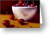 Red Pastels Greeting Cards - Life is Just a Bowl of Cherries Greeting Card by Colleen Brown