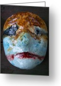 Surrealism Sculpture Greeting Cards - life mask Christina Wagner Greeting Card by Trey Berry