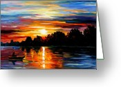 Afremov Greeting Cards - Life Memories Greeting Card by Leonid Afremov