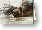 Load Greeting Cards - Life On Lake Tonle Sap 3 Greeting Card by Bob Christopher