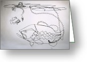 Fishing Sculpture Greeting Cards - Life on the Edge Greeting Card by Bud Bullivant