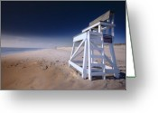 Nauset Beach Greeting Cards - Lifeguard Chair - Nauset Beach Greeting Card by Dapixara Art