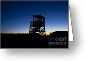 Atlantic Beaches Greeting Cards - Lifeguard stand at dawn Greeting Card by John Greim