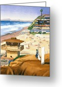 California Painting Greeting Cards - Lifeguard Station at Moonlight Beach Greeting Card by Mary Helmreich