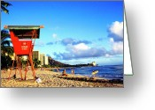 Waikiki Beach Greeting Cards - Lifeguard Station Waikiki Beach Greeting Card by Thomas R Fletcher