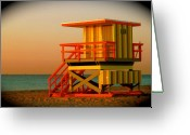 South Beach Greeting Cards - Lifeguard Tower in Miami Beach Greeting Card by Monique Wegmueller