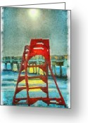 Moonrise Digital Art Greeting Cards - Lifeguards Moonrise Greeting Card by Tom McKim