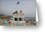 Atlantic Beaches Greeting Cards - Lifeguards Watch Over The Traditional Greeting Card by Stephen St. John