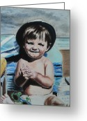 Little Boy Pastels Greeting Cards - Lifes a Beach Greeting Card by Carla Carson