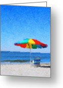 Sun Umbrella Greeting Cards - Lifes a Beach Greeting Card by Tilly Williams