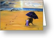 Beach Umbrella Painting Greeting Cards - Lifes A Beach Greeting Card by Toni  Thorne
