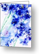 Flowers Floral Greeting Cards - Lifes Drama Blue Greeting Card by Jerome Lawrence