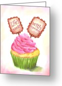 Cup Cakes Greeting Cards - Lifes Sweeter With Cupcakes Greeting Card by Jai Johnson