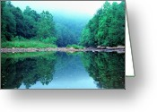 Trout Stream Greeting Cards - Lifting Fog Baptizing Hole Greeting Card by Thomas R Fletcher