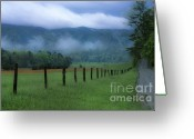 Location Art Greeting Cards - Lifting Fog in Cades Cove Greeting Card by Sandra Bronstein