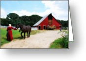 Huisken Greeting Cards - Lifting Hay Greeting Card by Lyle  Huisken