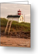 Cousins Greeting Cards - Lighhouse Cousins Shore PEI Greeting Card by Edward Fielding