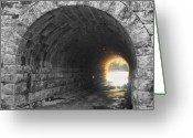 Selective Color Greeting Cards - Light At The End Greeting Card by Kathy Jennings
