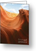 Gorge Greeting Cards - Light at the End of the Tunnel - Antelope Canyon AZ Greeting Card by Christine Till