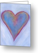 Orange And Yellow Heart Greeting Cards - Light Blue Heart Greeting Card by Samantha Lockwood