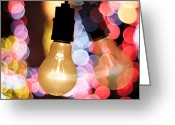 Surface Greeting Cards - Light Bulb And Bokeh Greeting Card by Setsiri Silapasuwanchai