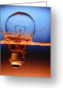 Water Photo Greeting Cards - Light Bulb And Splash Water Greeting Card by Setsiri Silapasuwanchai