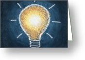 Thinking Greeting Cards - Light Bulb Design Greeting Card by Setsiri Silapasuwanchai