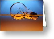 Thinking Greeting Cards - Light Bulb In Water Greeting Card by Setsiri Silapasuwanchai