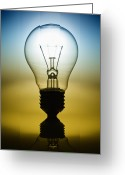 Think Greeting Cards - Light Bulb Greeting Card by Setsiri Silapasuwanchai