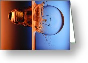 Think Greeting Cards - Light Bulb Shot Into Water Greeting Card by Setsiri Silapasuwanchai