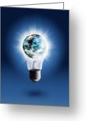 Think Greeting Cards - Light Bulb With Globe Greeting Card by Setsiri Silapasuwanchai