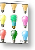Filament Greeting Cards - Light bulbs of a different color Greeting Card by Bob Orsillo